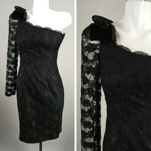 Vtg 80s Roberta One Sleeve Floral Lace Prom Dress